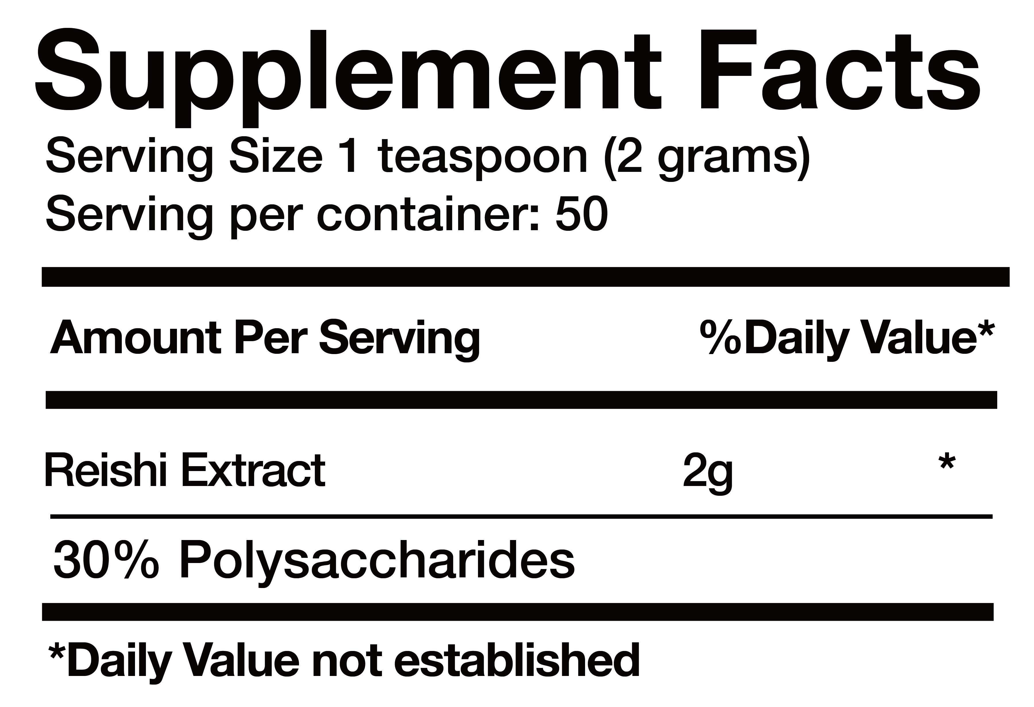 Reishi Extract nutrition facts